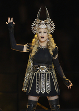 Madonna performs during halftime of the NFL Super Bowl XLVI football game between the New York Giants and New England Patriots, Sunday, Feb. 5, 2012, in Indianapolis. (AP Photo/Mark Humphrey)