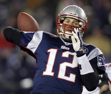 New England Patriots quarterback Tom Brady reaches back to pass during the second half of an NFL divisional playoff football game against the Denver Broncos Saturday, Jan. 14, 2012, in Foxborough, Mass. (AP Photo/Charles Krupa)