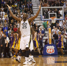 Trent Nelson  |  The Salt Lake Tribune Utah Jazz center/forward Al Jefferson (25) celebrates a fourth quarter Jazz lead as the Utah Jazz host the Los Angeles Lakers, NBA basketball Saturday, February 4, 2012 at EnergySolutions Arena in Salt Lake City, Utah.