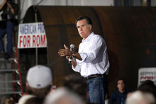 Republican presidential candidate, former Massachusetts Gov. Mitt Romney, speaks at a campaign rally in Colorado Sporings, Colo., Saturday, Feb. 4, 2012. (AP Photo/Gerald Herbert)