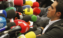 Spanish Cyclist Alberto Contador of Spain speaks during a news conference in Pinto on the outskirts of Madrid, Spain, Tuesday Feb. 7, 2012. Alberto Contador was stripped of his 2010 Tour de France title and banned for two years after sport's highest court found the Spanish cyclist guilty of doping on Monday. The Court of Arbitration for Sport suspended the three-time Tour champion after rejecting his claim that his positive test for clenbuterol was caused by eating contaminated meat. (AP Photo/Andres Kudacki)