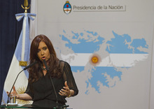Eduardo Di Baia  |  The Associated Press Argentina's President Cristina Fernandez stands Tuesday in of front of a Falklands Islands' map at Government Palace in Buenos Aires, Argentina.