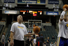 Chet Strange | Special to The Tribune Jim Boylen, former University of Utah Head Coach, helps the Indiana Pacers run drills before the Pacers' game against the New Jersey Nets on Tuesday, Jan. 31. Known for his fiery personality, Boylen has been relegated to a more subordinate role as one of two Pacers assistant coaches.