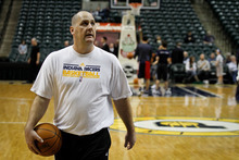 Chet Strange | Special to The Tribune Jim Boylen, former University of Utah Head Coach, helps the Indiana Pacers run drills before their game against the New Jersey Nets on Tuesday, Jan. 31.