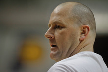 Chet Strange | Special to The Tribune Jim Boylen, former University of Utah Head Coach, runs drills before the Indiana Pacers' game against the New Jersey Nets on Tuesday, Jan. 31.