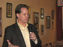 Donald W. Meyers | The Salt Lake Tribune  Andrew Holmes announces his intention to challenge Sen. Curt Bramble, R-Provo, for the Republican nomination for Senate District 16 at Nicoliatalia Pizzeria in Provo Tuesday (Feb. 7, 2012)