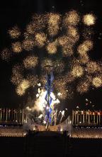 Steve Griffin  |  The Salt Lake Tribune file photo Fireworks explode above the Olympic cauldron at Rice-Eccles Stadium.