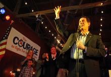 Republican presidential candidate former Pennsylvania Sen. Rick Santorum speaks to supporters at a rally Wednesday, Feb. 8, 2012, in Plano, Texas. (AP Photo/Sharon Ellman)