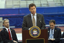 Chris Detrick  |  The Salt Lake Tribune Steven Price, the chairman of the Utah Sports Commission, speaks about the formation of a panel to explore an Olympic bid for the 2022 or 2026 Winter Games in Utah at the Utah Olympic Oval in Kearns Wednesday February 8, 2012.