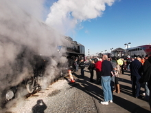 Sean P. Means  |  The Salt Lake Tribune Train enthusiasts gather at Salt Lake City's Amtrak station to see Union Pacific's Steam Locomotive No. 844 on Saturday, Nov. 26. The train left Salt Lake City for Ogden at 10 a.m. Saturday morning.
