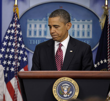 President Barack Obama concludes his remarks in the Brady Press Briefing Room of the White House in Washington, Friday, Feb. 10, 2012, where he announced the revamp of his contraception policy requiring religious institutions to fully pay for birth control. (AP Photo/Susan Walsh)