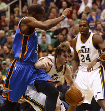 Trent Nelson  |  The Salt Lake Tribune Utah Jazz forward Gordon Hayward (20) drives to the basket as the Utah Jazz host the Oklahoma City Thunder, NBA basketball at EnergySolutions Arena Friday, February 10, 2012 in Salt Lake City, Utah.