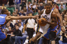 Trent Nelson  |  The Salt Lake Tribune Utah Jazz guard Raja Bell (19) drives the lane as the Utah Jazz host the Oklahoma City Thunder, NBA basketball at EnergySolutions Arena Friday, February 10, 2012 in Salt Lake City, Utah.