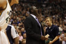 Photo by Chris Detrick | The Salt Lake Tribune  Utah Jazz head coach Tyrone Corbin during the first half of the game against Phoenix at the EnergySolutions Arena Friday February 11, 2011.