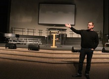 Rick Egan  | The Salt Lake Tribune  Pastor Dean Curry talks about funeral at the Life Center in Tacoma, Wash., where the services for Braden and Charlie Powell will be held on Saturday.