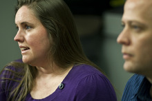 Chris Detrick  |  The Salt Lake Tribune Jennifer and Kirk Graves talk about Susan Cox Powell and her kids, Charlie and Braden, Wednesday. Jennifer Graves is Josh Powell's sister.