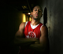Steve Griffin  |  The Salt Lake Tribune   University of Utah basketball player Chris Hines.