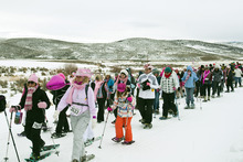 Chris Detrick  |  The Salt Lake Tribune Participants snowshoe during the Tubbs Romp to Stomp Out Breast Cancer Snowshoe Series at the Round Valley Trails at Quinn's Junction Saturday February 11, 2012. The event raises money for the Salt Lake City affiliate of Susan G. Komen for the Cure.