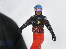 Scott Sommerdorf  |  The Salt Lake Tribune              Park City's Graham Watanabe smiles after his win in the Men's Consolation race that placed him fifth overall in Snowboardcross at the U.S. Grand Prix held The Canyons, Sunday February 12, 2012.