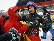 Scott Sommerdorf  |  The Salt Lake Tribune              Park City snowboarder Graham Watanabe meets with his father, Scott Watanabe, left, after his fifth place finish in Men's Snowboardcross at the U.S. Grand Prix held The Canyons, Sunday February 12, 2012.