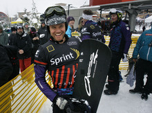Scott Sommerdorf  |  The Salt Lake Tribune              Austrian Alex Schairer is all smiles after his win in the men's final in Snowboardcross at the U.S. Grand Prix held The Canyons, Sunday February 12, 2012.