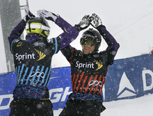 Scott Sommerdorf  |  The Salt Lake Tribune              Austrian Markus Schairer celebrates his win in the Men's Snowboardcross semi-finals. He went on to win the Men's title in Snowboardcross at the U.S. Grand Prix held The Canyons, Sunday February 12, 2012.