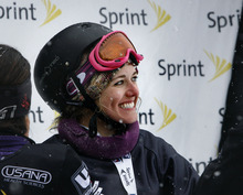 Scott Sommerdorf  |  The Salt Lake Tribune              Salt Lake City's Faye Gulini smiles after her second place finish in the Women's Snowboardcross at the U.S. Grand Prix held The Canyons, Sunday February 12, 2012.
