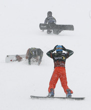 Scott Sommerdorf  |  The Salt Lake Tribune              Graham Watanabe looks back to see the crash that happened after he  crossed the finish line to take 5th overall with this win in the Men's Consolation race in Snowboardcross at the U.S. Grand Prix held The Canyons, Sunday February 12, 2012.