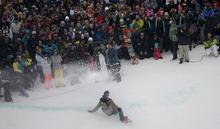 Kim Raff |The Salt Lake Tribune Louri Podladtchikov kicks up snow at the finish line in the snowboard superpipe men's final that is part of the Winter Dew Tour at Snowbasin in Huntsville, Utah on February 11, 2012.  Podladtchikov came in second in the event.