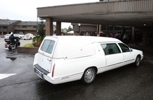Rick Egan  | The Salt Lake Tribune  The hearse arrives at the the funeral for Charlie and Braden Powell at the Life Center Church in Tacoma, Wash., on Saturday.