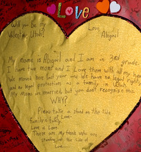 Al Hartmann     The Salt Lake Tribune Abigail Hasting-Tharp wrote a valentine to the state of Utah encouraging people to recognize her mothers' rights as a married couple.