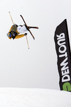 Kim Raff  |  The Salt Lake Tribune Bobby Brown competes during the ski slopestyle men's final at the Winter Dew Tour at Snowbasin in Huntsville on Sunday.