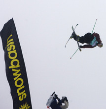 Kim Raff |  The Salt Lake Tribune Nick Goepper competes in the ski slopestyle men's final at the Winter Dew Tour at Snowbasin in Huntsville on Sunday. Goepper went on to place first in the event.