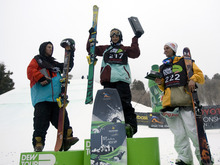 Kim Raff |  The Salt Lake Tribune Tom Wallisch, left, placed second, Nick Goepper, placed first, and Bobby Brown, who placed third, accept their awards in the ski slopestyle men's final at the Winter Dew Tour at Snowbasin in Huntsville on Sunday.