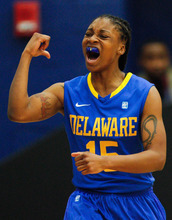 Delaware guard Akeema Richards (15) reacts to a play in the second half of an NCAA college basketball game against Georgia State in Atlanta , Ga., Sunday, Feb. 12, 2012. Delaware defeated Georgia State 94-56. (AP Photo/Daniel Shirey)