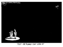 Courtesy Salt Lake Tribune Library In this Pat Bagley cartoon, the glare of a global spotlight focused on Salt Lake Organizing Committee President Mitt Romney in the final days before the 2002 Winter Olympics began.