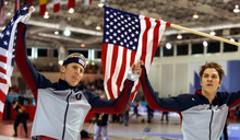 Danny La | Tribune file photo Speedskaters Casey Fitzrandolph, left, and Kip Carpenter celebrate winning gold and bronze medals, respectively, for the United States in the men's 500 meters at the Utah Olympic Oval.