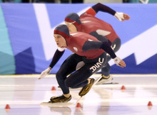 Steve Griffin | Tribune file photo Speedskater Kip Carpenter leads American teammate Casey Fitzrandolph into the first turn of the men's 500 meters at the Utah Olympic Oval, where he earned the bronze medal and Fitzrandolph won gold.