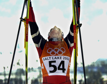 Al Hartmann | Tribune file photo Norway's Benti Skari exhults in winning the women's 10K classical cross country race at Soldier Hollow. Skari also won a silver and a bronze at the Salt Lake Games.