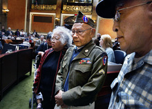Scott Sommerdorf  |  The Salt Lake Tribune              Ninety-two year old Murray resident Jiro Mori, second from right, stands alongside other Nisei veterans of the 100th Infantry Battalion and the 442nd Regimental Combat Team in the Utah House on Monday. Rep. Curt Oda, R-Clearfield, sponsored HCR5 to honor these Japansese-American members for their service during WWII.