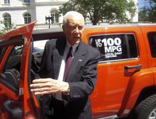 Tribune file photo  In 2009, Sen. Orrin Hatch, R-Utah, showed off a 100 mpg Hummer H3 at a news conference on Capitol Hill. The technology for the plug-in hybrid Hummer, which Hatch drove up and down a closed-off street near the Capitol, was made by Provo-based Raser Technologies, whioch has since filed for bankruptcy.