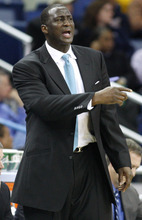 Utah Jazz head coach Tyrone Corbin reacts in the second half of an NBA basketball game against the New Orleans Hornets in New Orleans, Monday, Feb. 13, 2012. The Hornets won their fifth game this season 86-80.(AP Photo/Jonathan Bachman)