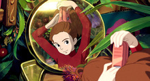 Although she is very tiny, Arrietty (voice by Bridgit Mendler) is a dauntless teenager who, along with her equally diminutive family, resides peacefully under the floorboards of a country house and