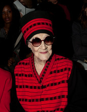 Zelda Kaplan, 95, waits for the Joanna Mastroianni Fall 2012 fashion show to begin, during Fashion Week, Wednesday, Feb. 15, 2012,  in New York. Kaplan was sitting in the front row of designer Mastroianni's show at Lincoln Center when she collapsed, Wednesday. She was later pronounced dead at Roosevelt Hospital. Kaplan was known for her lively nightlife, attending art openings, parties and clubs with people young enough to be her great-grandchildren. (AP Photo/Andrea Hanks)