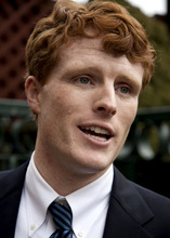 Joseph Kennedy III speaks with members of the media outside a restaurant in Attleboro, Mass., Thursday, Feb. 16, 2012. Kennedy, who released a video announcement on his campaign website early Thursday, launched his campaign for the Massachusetts congressional seat now held by retiring U.S. Rep. Barney Frank. Kennedy is the son of former U.S. Rep. Joseph Kennedy II and a grandson of the late Robert F. Kennedy. (AP Photo/Steven Senne)