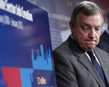 Senate Majority Whip Richard Durbin listens during a news conference about a compromise deal on the payroll tax cut, Thursday, Feb., 16, 2012, on Capitol Hill in Washington. (AP Photo/Pablo Martinez Monsivais)