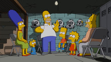 The Simpsons retreat to their bomb shelter, unaware of what the citizens of Springfield are planning for them in