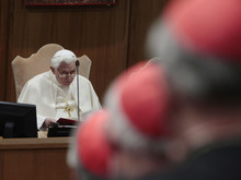Pope Benedict XVI meets with Cardinals and Bishops in the Synod hall at the Vatican, Friday, Feb. 17, 2012. The Pontiff is scheduled to name 22 new Cardinals in a Consistory, Saturday Feb. 18, at the Vatican. (AP Photo/Gregorio Borgia)