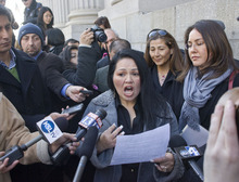 Al Hartmann  |  The Salt Lake Tribune Alicia Cervantes, a U.S citizen born in Utah and a plaintiff in the HB497 Utah Immigration law gets angry as she speaks with reporters outside the Frank Moss Federal Courthouse Friday February 17,  She attended the legal proceedings over over HB497, Utah's enforcement only immigration law.