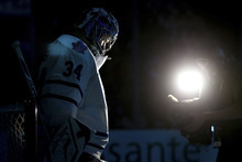 Toronto Maple Leafs goalie James Reimer stands in his crease before playing the Vancouver Canucks in an NHL hockey game in Vancouver, British Columbia, Saturday, Feb. 18, 2012. The Canucks won 6-2. (AP Photo/The Canadian Press, Darryl Dyck)